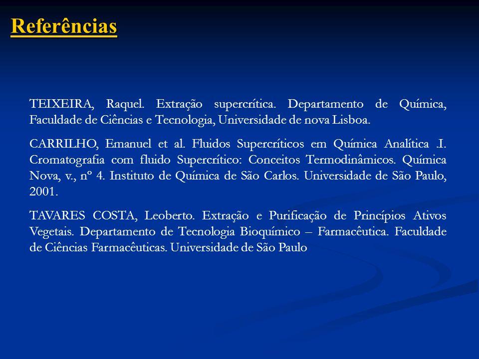 Referências TEIXEIRA, Raquel. Extração supercrítica. Departamento de Química, Faculdade de Ciências e Tecnologia, Universidade de nova Lisboa.