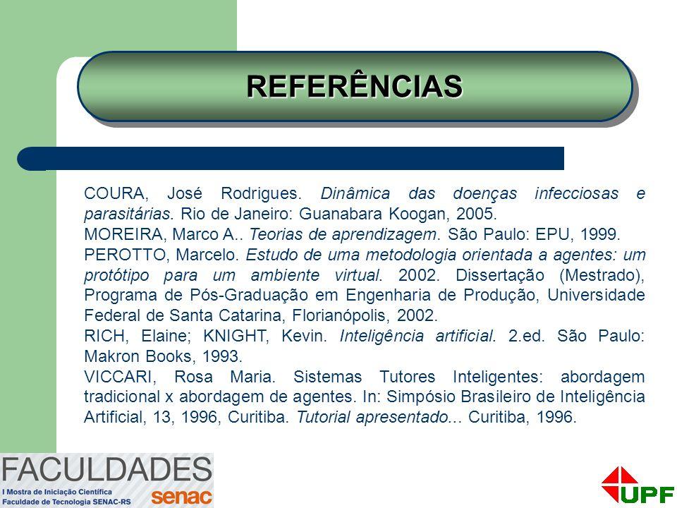REFERÊNCIAS COURA, José Rodrigues. Dinâmica das doenças infecciosas e parasitárias. Rio de Janeiro: Guanabara Koogan, 2005.