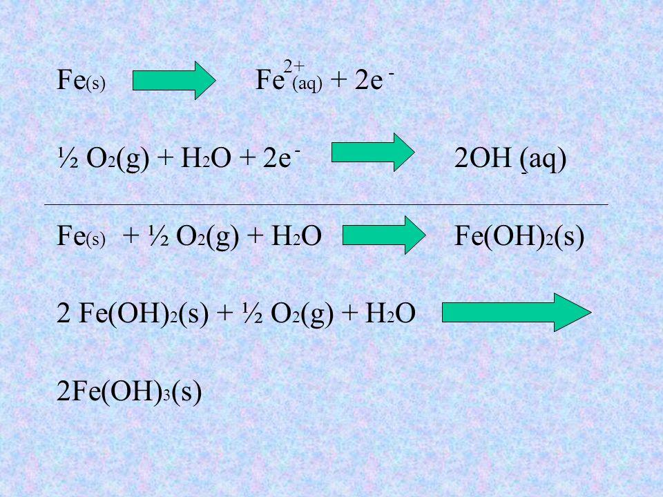 Fe(s) + ½ O2(g) + H2O Fe(OH)2(s) 2 Fe(OH)2(s) + ½ O2(g) + H2O