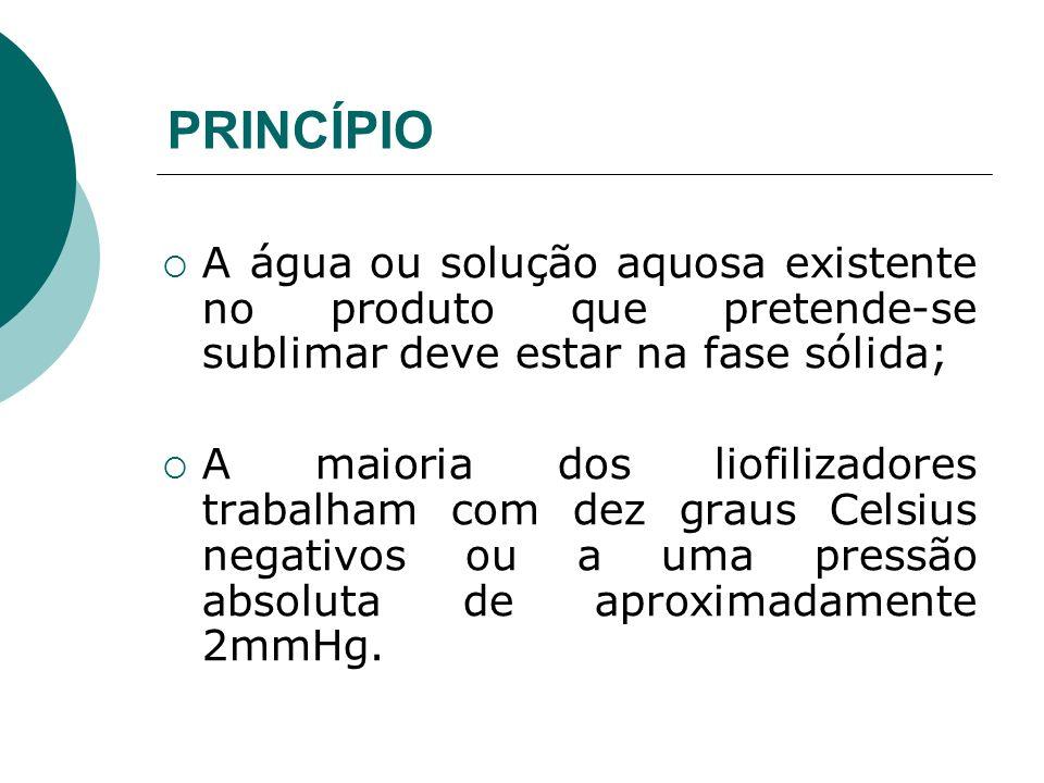 PRINCÍPIOA água ou solução aquosa existente no produto que pretende-se sublimar deve estar na fase sólida;