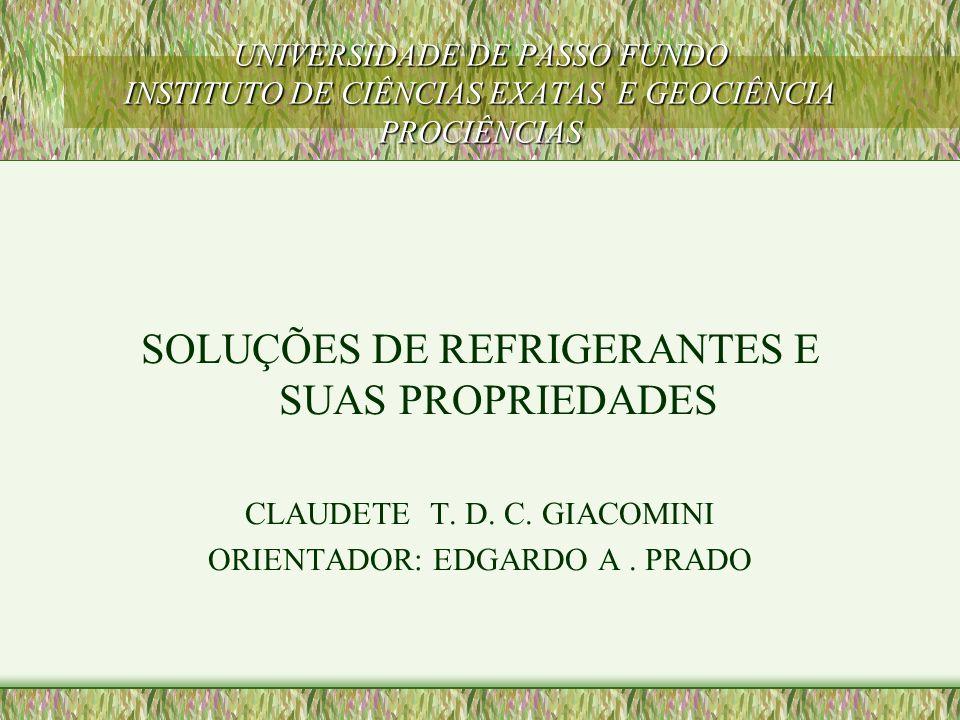 SOLUÇÕES DE REFRIGERANTES E SUAS PROPRIEDADES