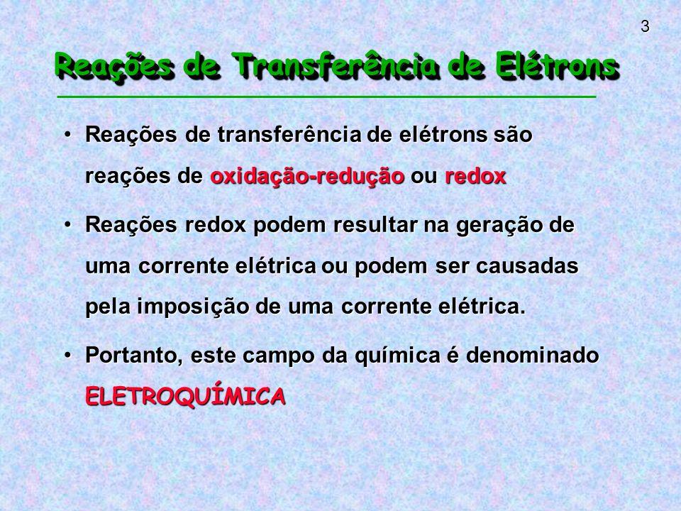 Reações de Transferência de Elétrons