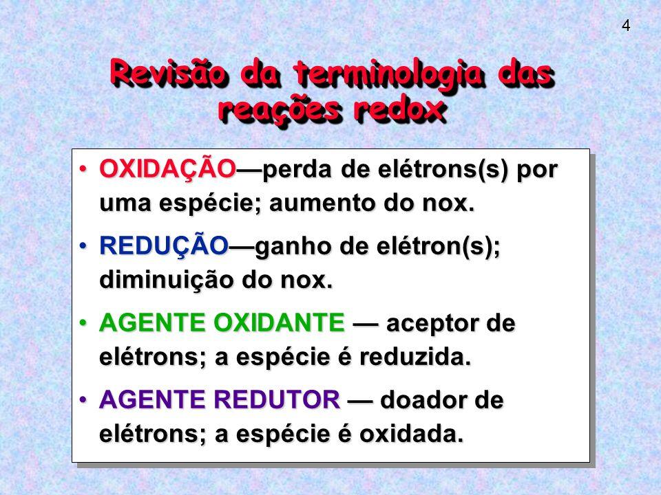 Revisão da terminologia das reações redox