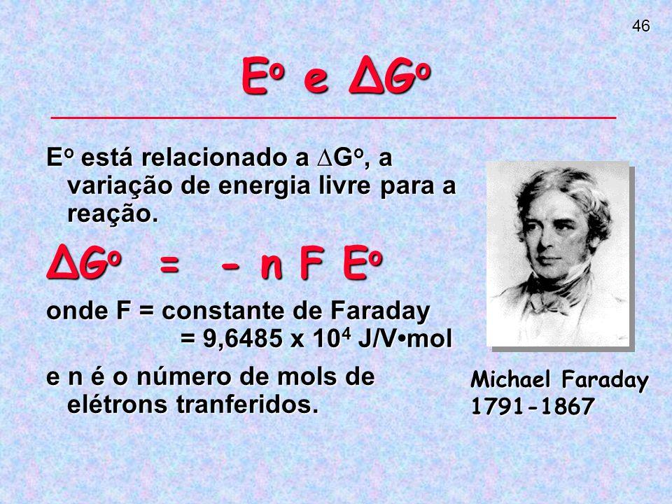 Eo e ∆Go Eo está relacionado a ∆Go, a variação de energia livre para a reação. ∆Go = - n F Eo.