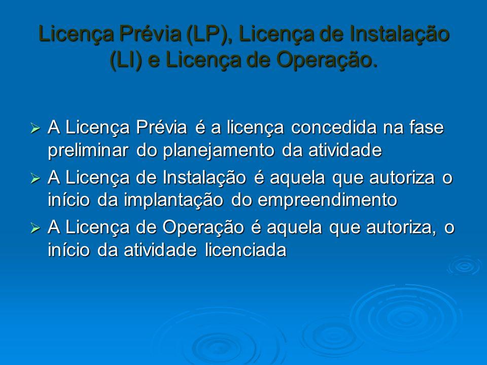 Licença Prévia (LP), Licença de Instalação (LI) e Licença de Operação.