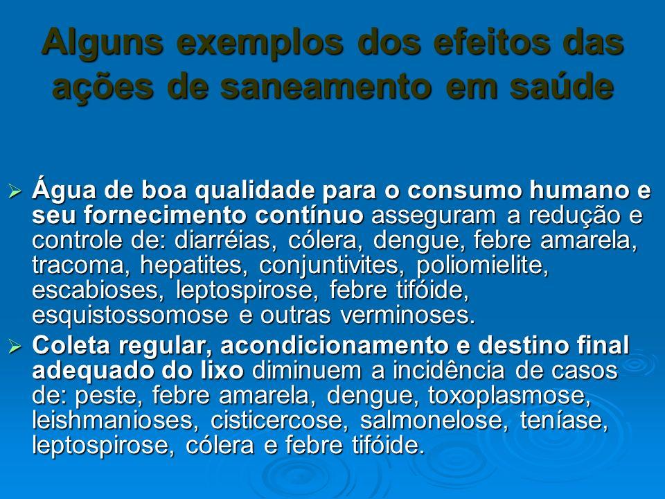 Alguns exemplos dos efeitos das ações de saneamento em saúde