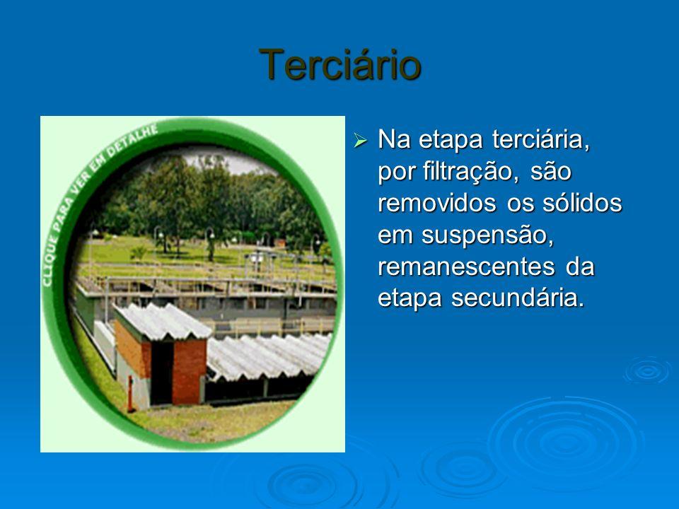 Terciário Na etapa terciária, por filtração, são removidos os sólidos em suspensão, remanescentes da etapa secundária.