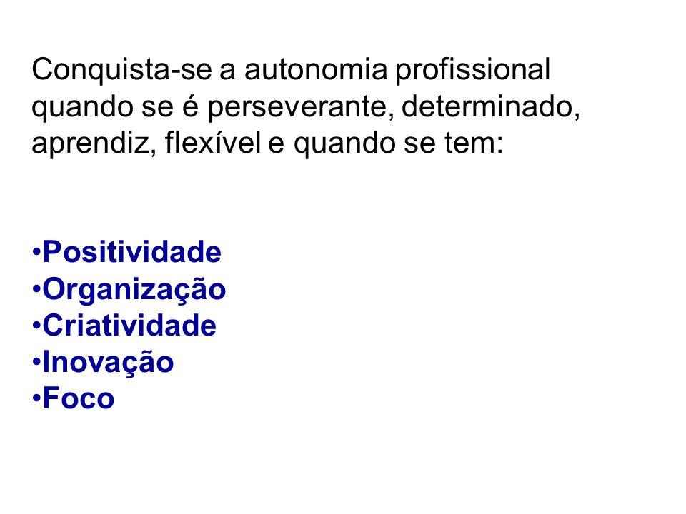 Conquista-se a autonomia profissional quando se é perseverante, determinado, aprendiz, flexível e quando se tem: