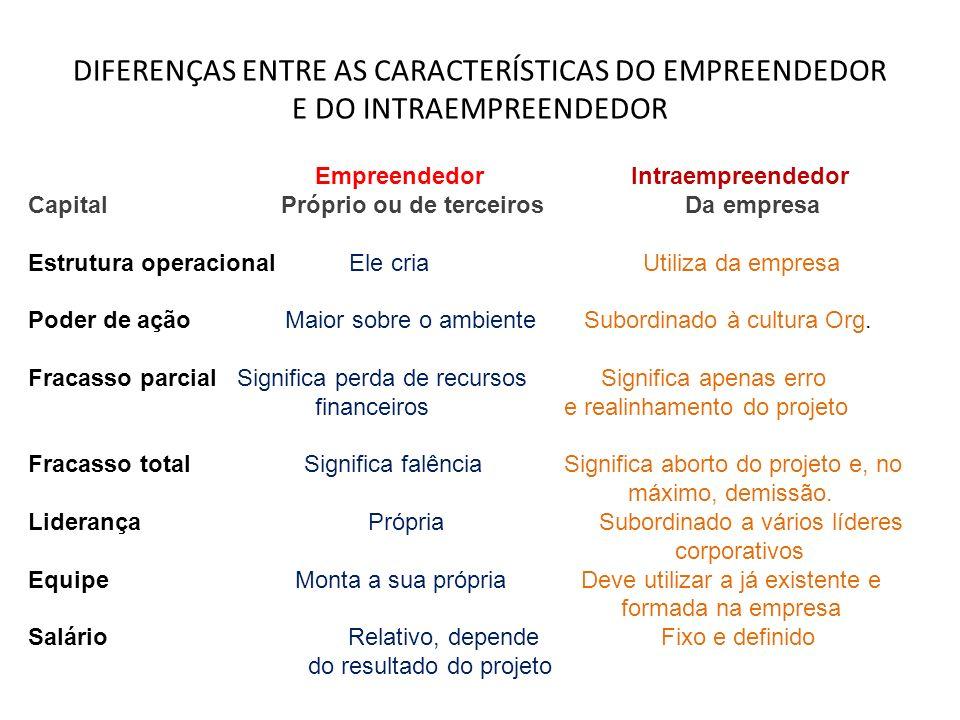 DIFERENÇAS ENTRE AS CARACTERÍSTICAS DO EMPREENDEDOR E DO INTRAEMPREENDEDOR