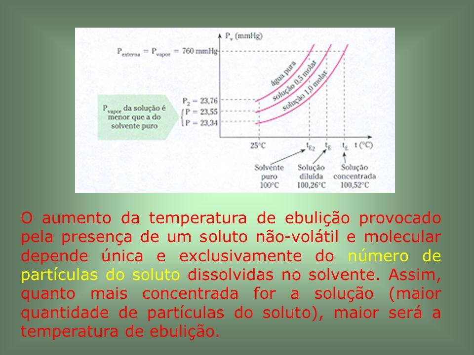 O aumento da temperatura de ebulição provocado pela presença de um soluto não-volátil e molecular depende única e exclusivamente do número de partículas do soluto dissolvidas no solvente.