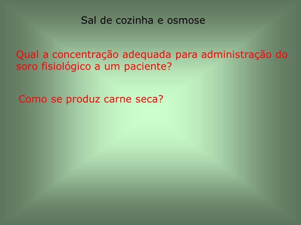 Sal de cozinha e osmose Qual a concentração adequada para administração do soro fisiológico a um paciente