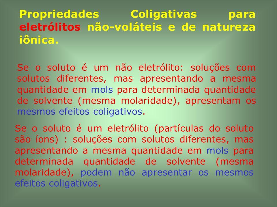 Propriedades Coligativas para eletrólitos não-voláteis e de natureza iônica.