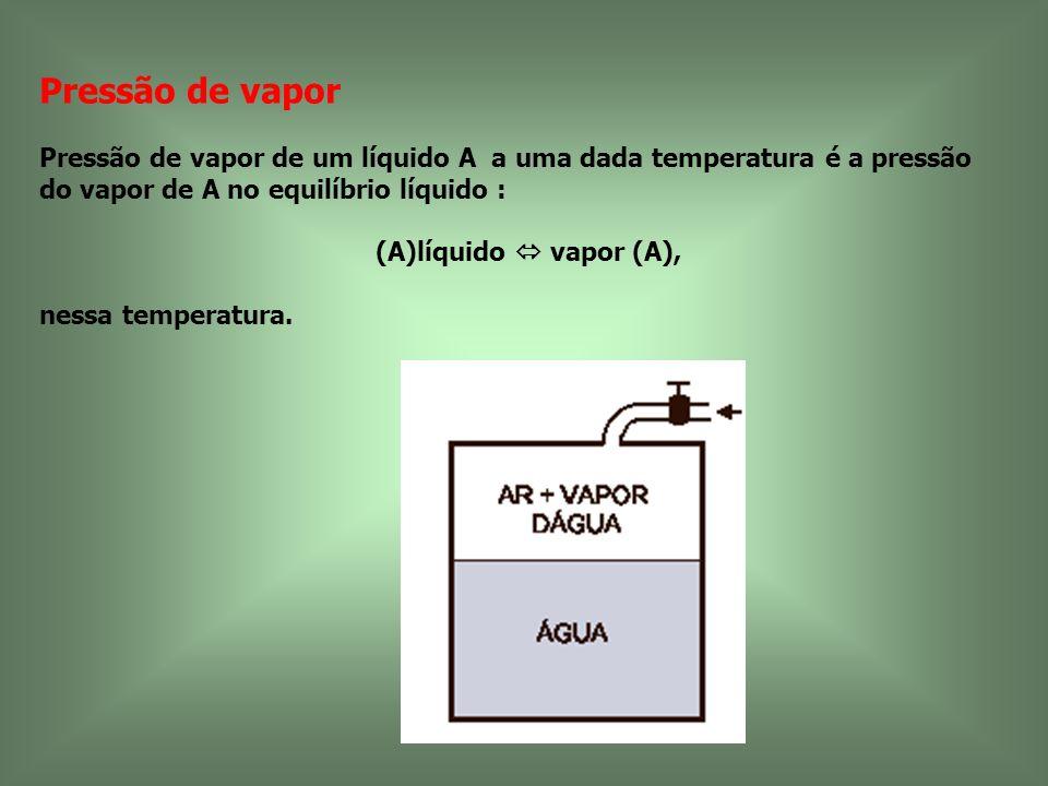 Pressão de vapor Pressão de vapor de um líquido A a uma dada temperatura é a pressão do vapor de A no equilíbrio líquido :