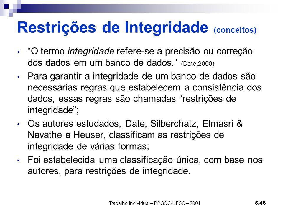 Restrições de Integridade (conceitos)