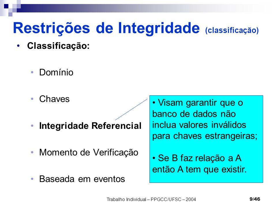 Restrições de Integridade (classificação)