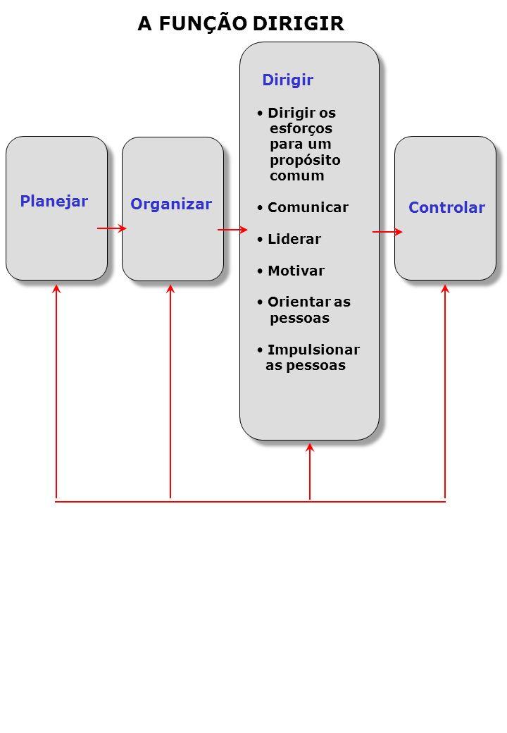 A FUNÇÃO DIRIGIR Dirigir Planejar Organizar Controlar Dirigir os