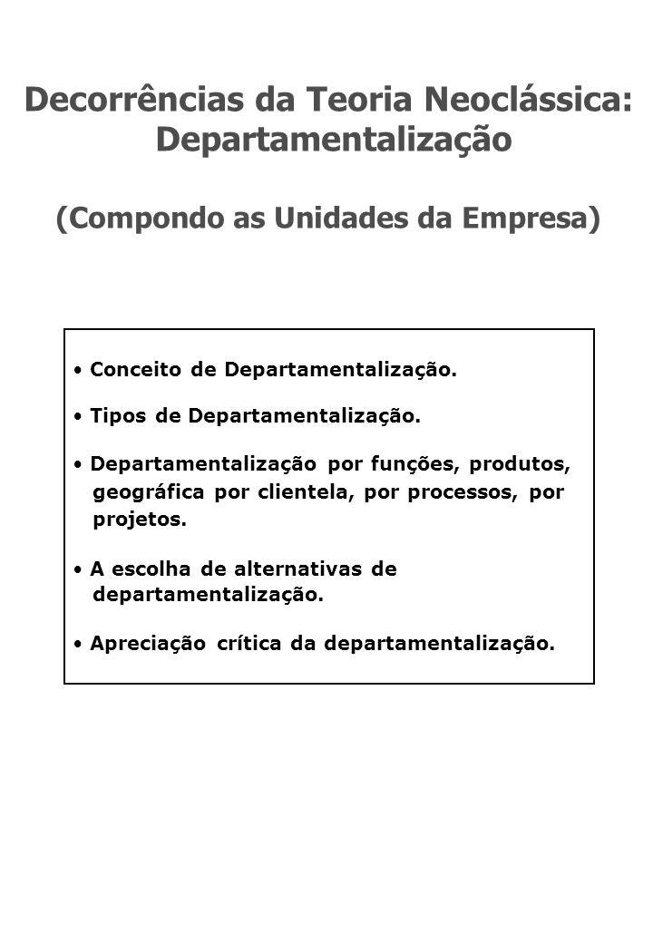 Decorrências da Teoria Neoclássica: (Compondo as Unidades da Empresa)