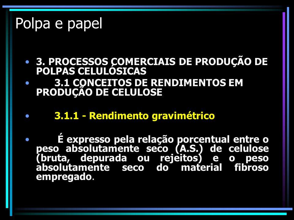 Polpa e papel 3. PROCESSOS COMERCIAIS DE PRODUÇÃO DE POLPAS CELULÓSICAS. 3.1 CONCEITOS DE RENDIMENTOS EM PRODUÇÃO DE CELULOSE.