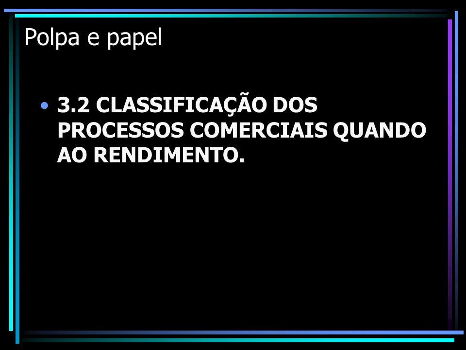 Polpa e papel 3.2 CLASSIFICAÇÃO DOS PROCESSOS COMERCIAIS QUANDO AO RENDIMENTO.