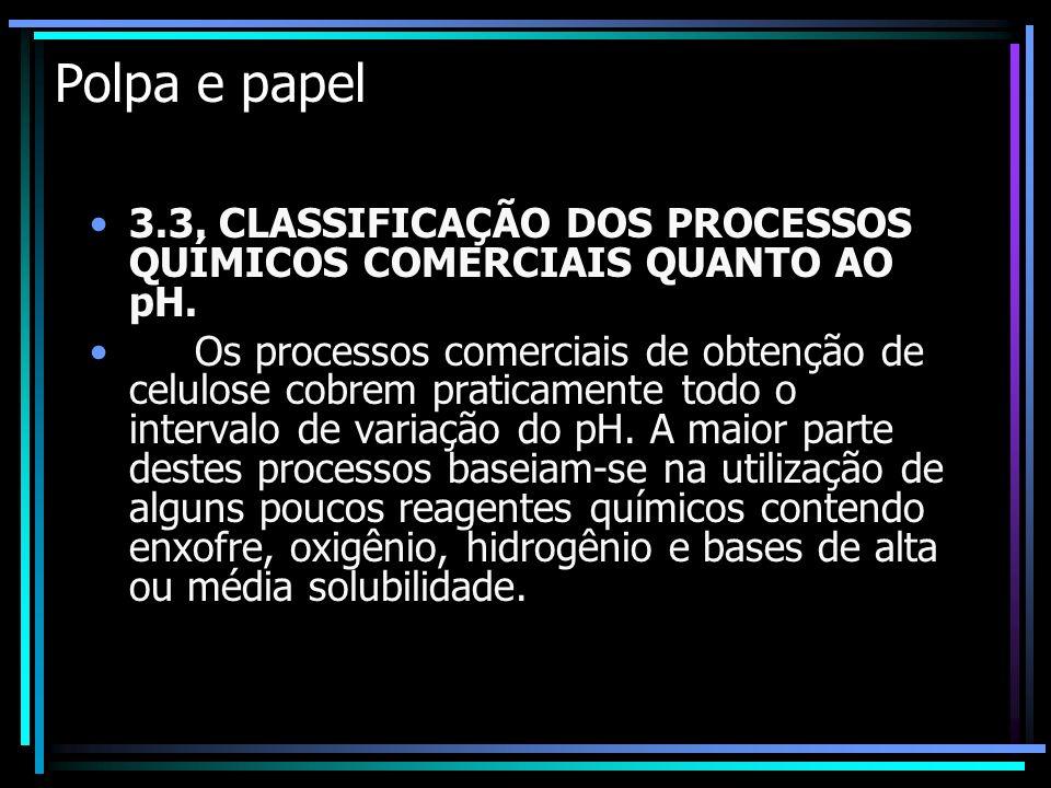 Polpa e papel 3.3. CLASSIFICAÇÃO DOS PROCESSOS QUÍMICOS COMERCIAIS QUANTO AO pH.