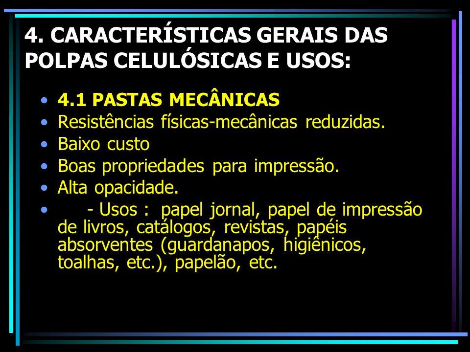 4. CARACTERÍSTICAS GERAIS DAS POLPAS CELULÓSICAS E USOS: