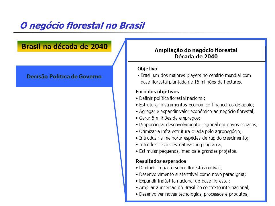 Ampliação do negócio florestal Decisão Política de Governo