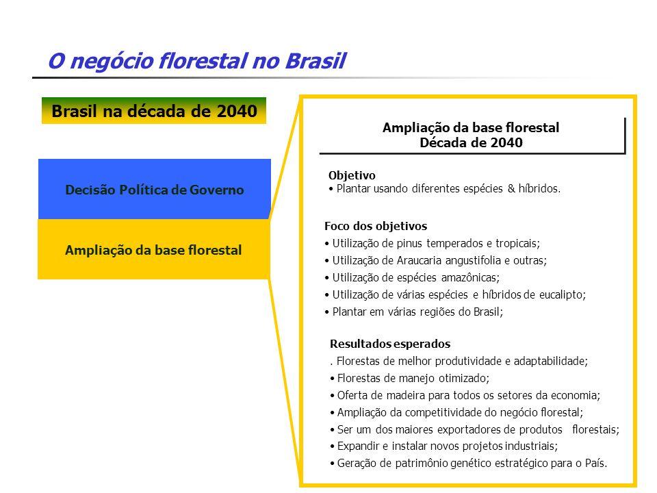 Brasil na década de 2040 Ampliação da base florestal Década de 2040