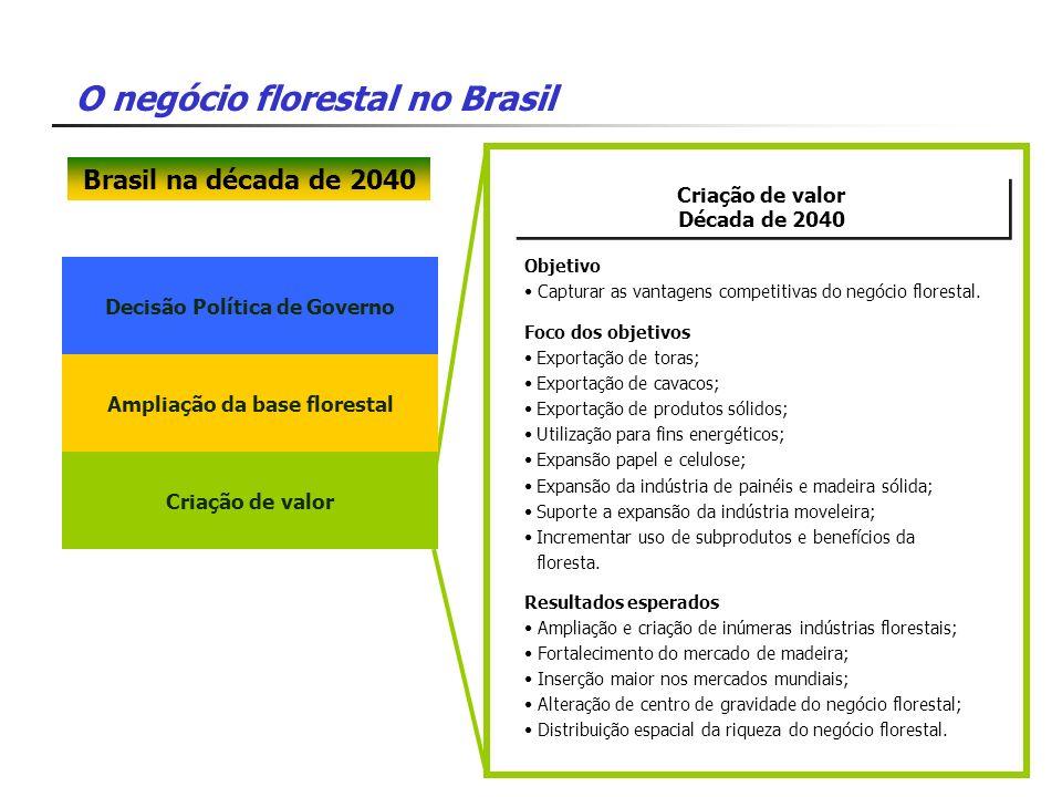 Decisão Política de Governo Ampliação da base florestal