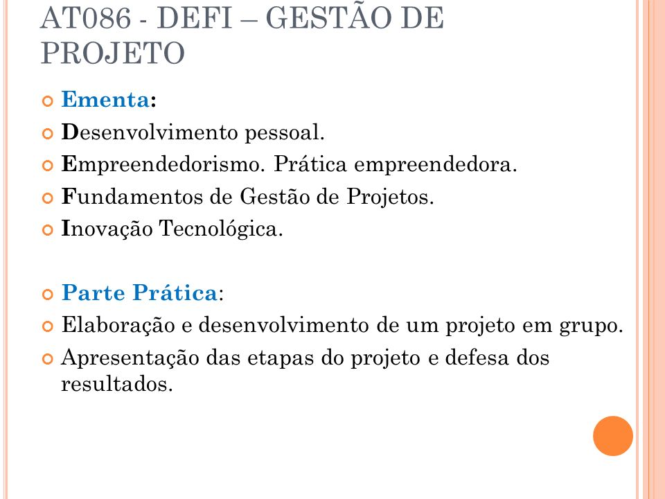 AT086 - DEFI – GESTÃO DE PROJETO