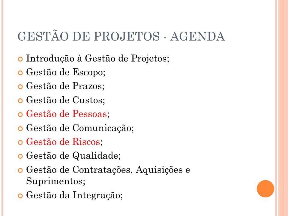 GESTÃO DE PROJETOS - AGENDA