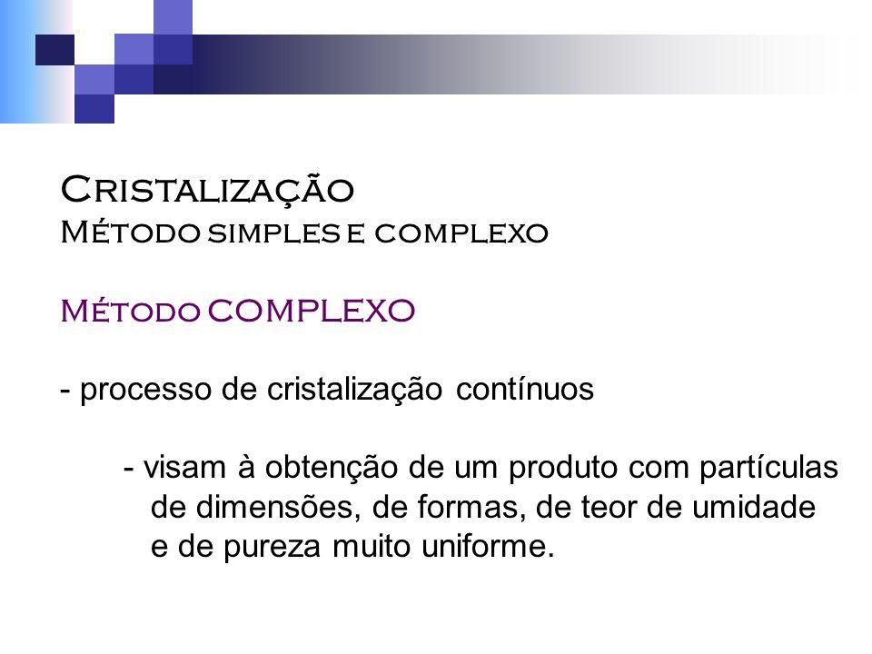 Cristalização Método simples e complexo Método COMPLEXO