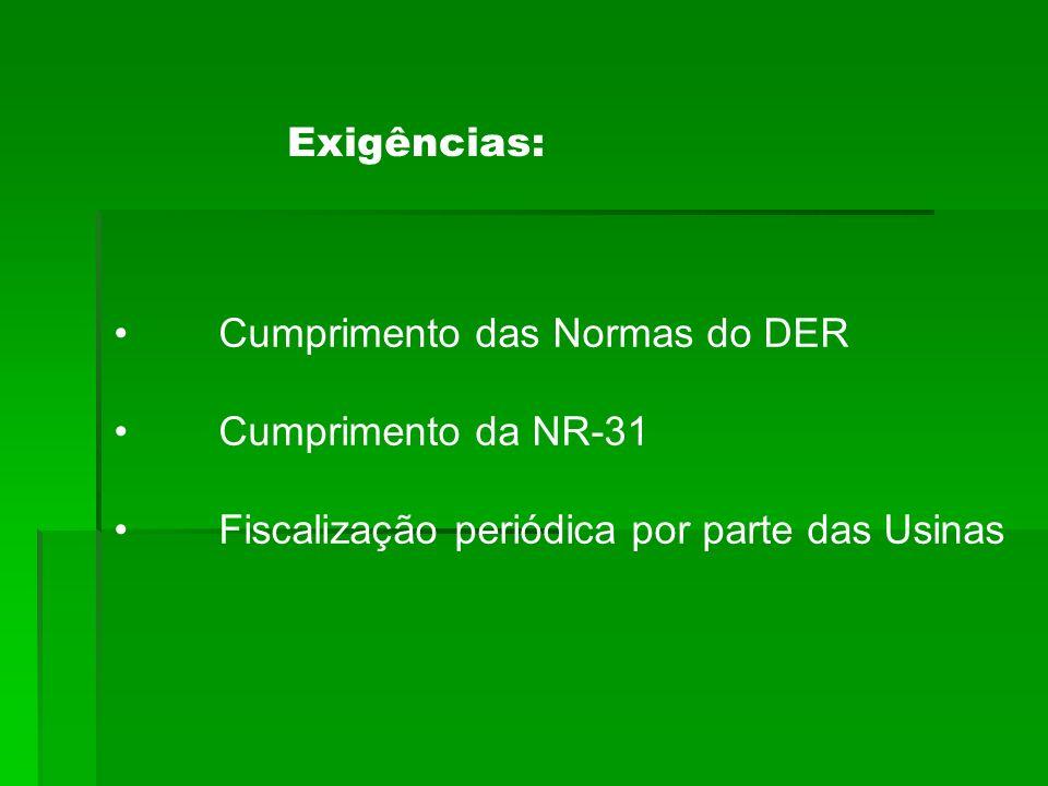 Exigências: Cumprimento das Normas do DER. Cumprimento da NR-31.