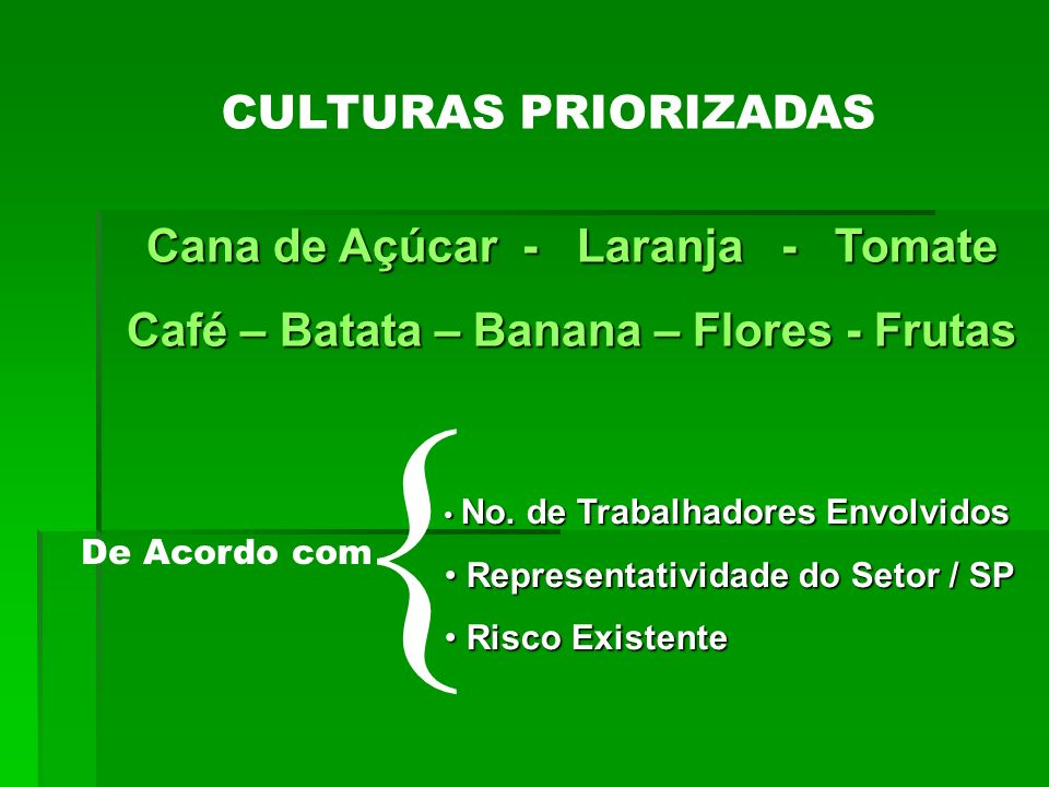 { CULTURAS PRIORIZADAS Cana de Açúcar - Laranja - Tomate