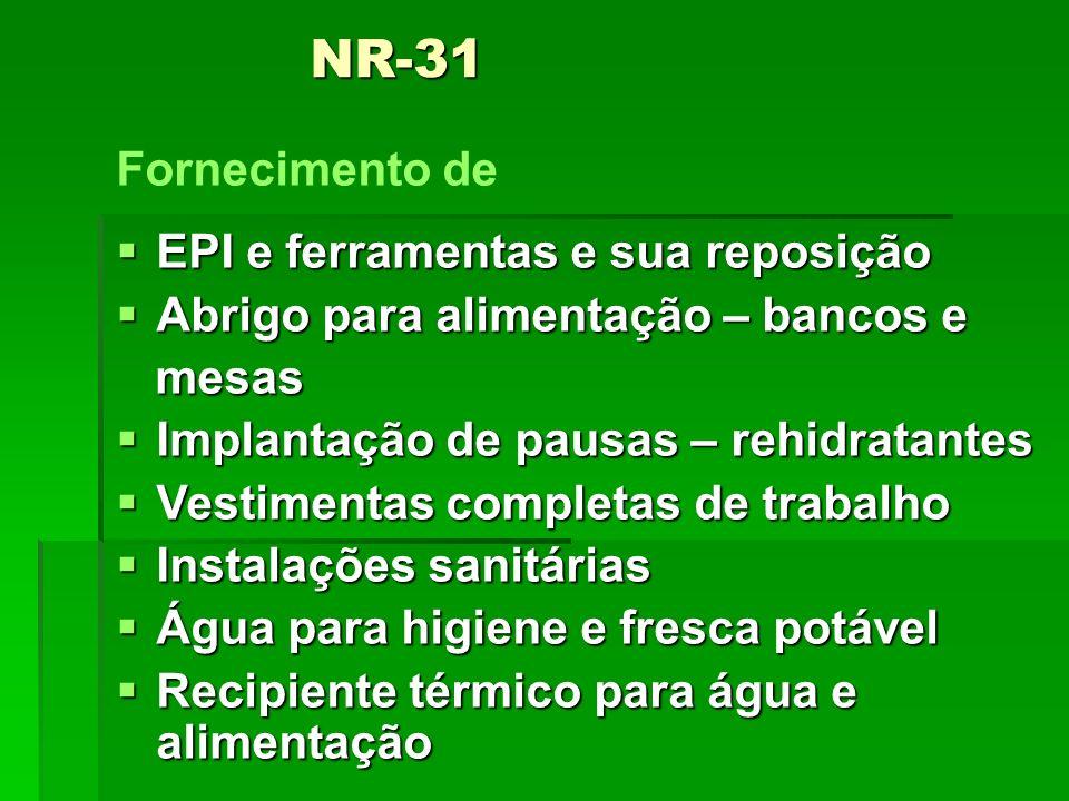 NR-31 Fornecimento de EPI e ferramentas e sua reposição