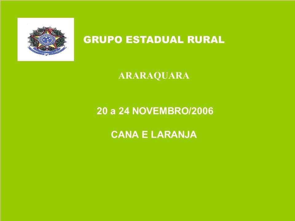 GRUPO ESTADUAL RURAL ARARAQUARA 20 a 24 NOVEMBRO/2006 CANA E LARANJA