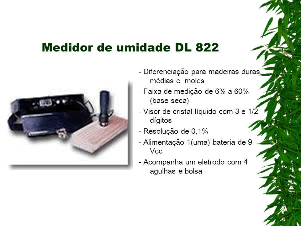 Medidor de umidade DL 822- Diferenciação para madeiras duras, médias e moles. - Faixa de medição de 6% a 60% (base seca)