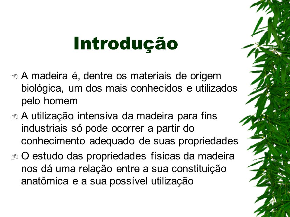 Introdução A madeira é, dentre os materiais de origem biológica, um dos mais conhecidos e utilizados pelo homem.