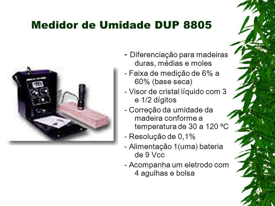 Medidor de Umidade DUP 8805- Diferenciação para madeiras duras, médias e moles. - Faixa de medição de 6% a 60% (base seca)