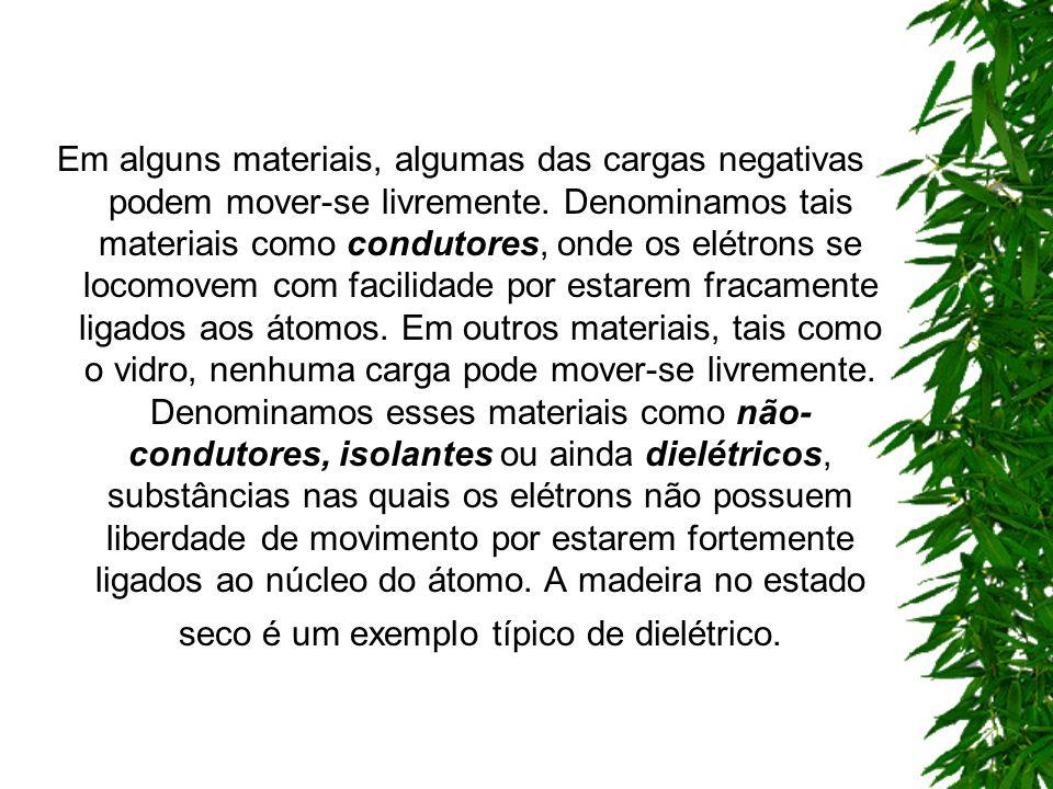 Em alguns materiais, algumas das cargas negativas podem mover-se livremente.