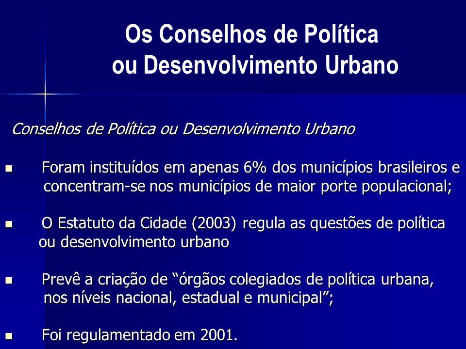 Os Conselhos de Política ou Desenvolvimento Urbano