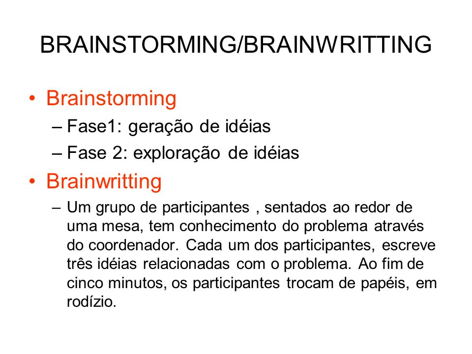 BRAINSTORMING/BRAINWRITTING