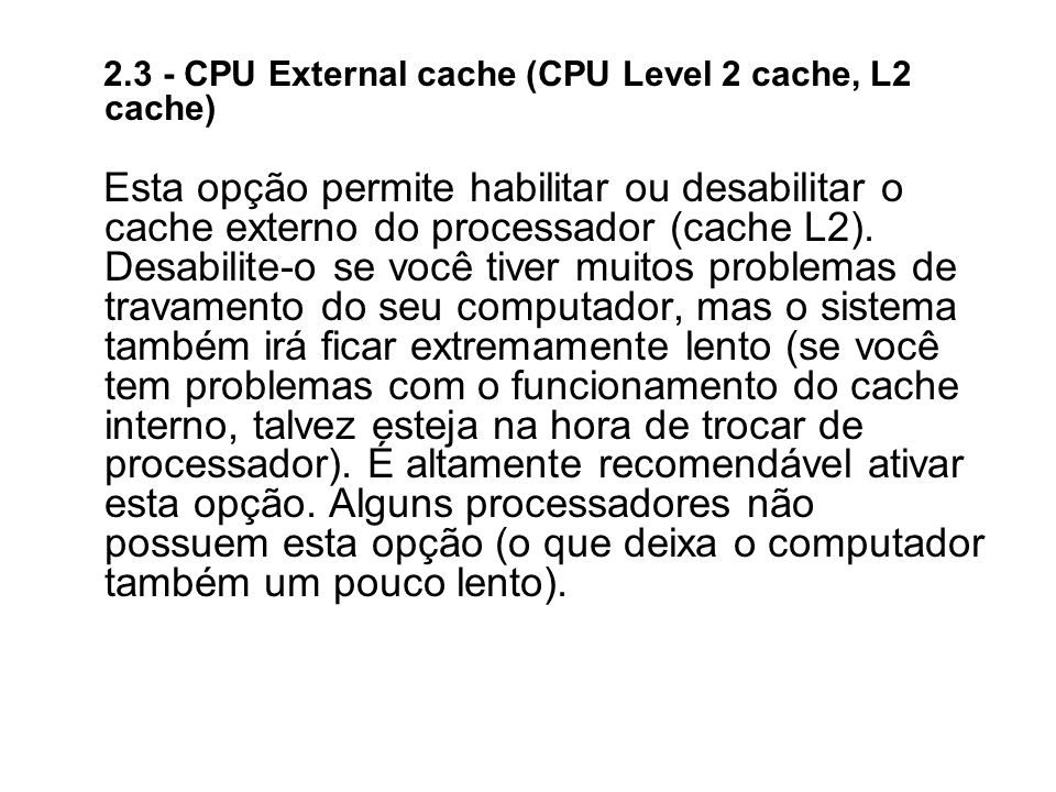 2.3 - CPU External cache (CPU Level 2 cache, L2 cache)