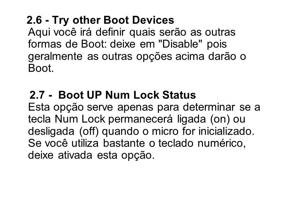 2.6 - Try other Boot Devices Aqui você irá definir quais serão as outras formas de Boot: deixe em Disable pois geralmente as outras opções acima darão o Boot.