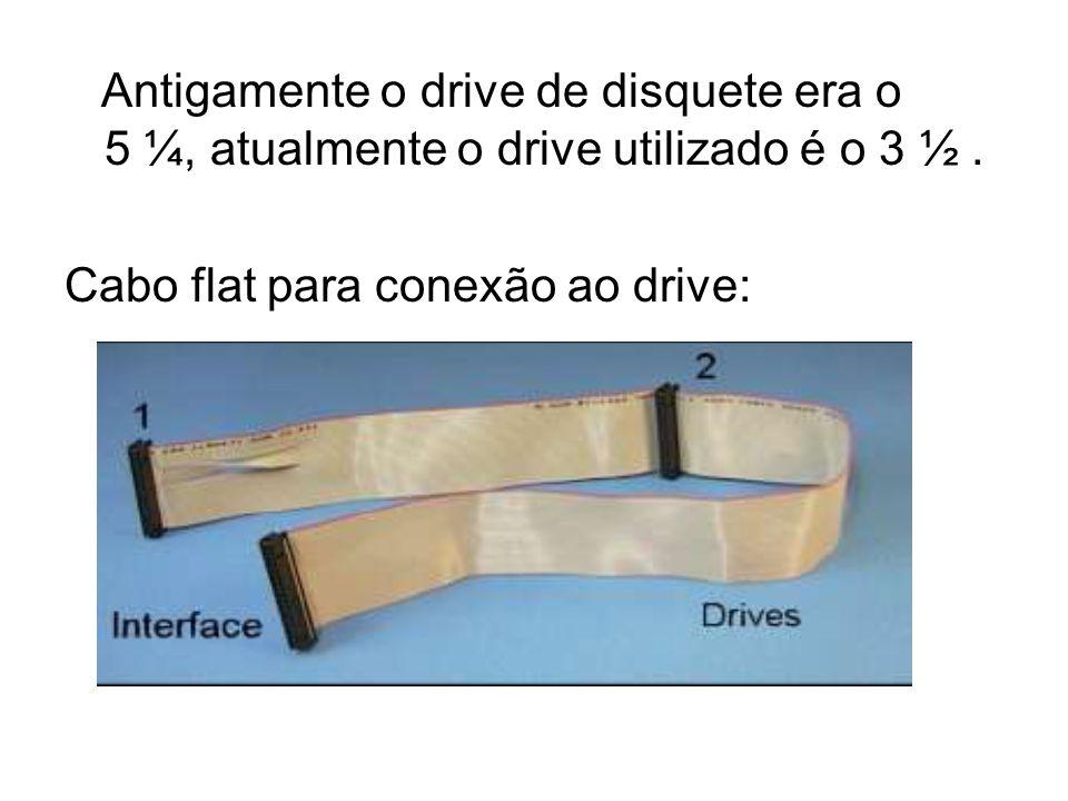 Antigamente o drive de disquete era o 5 ¼, atualmente o drive utilizado é o 3 ½ .