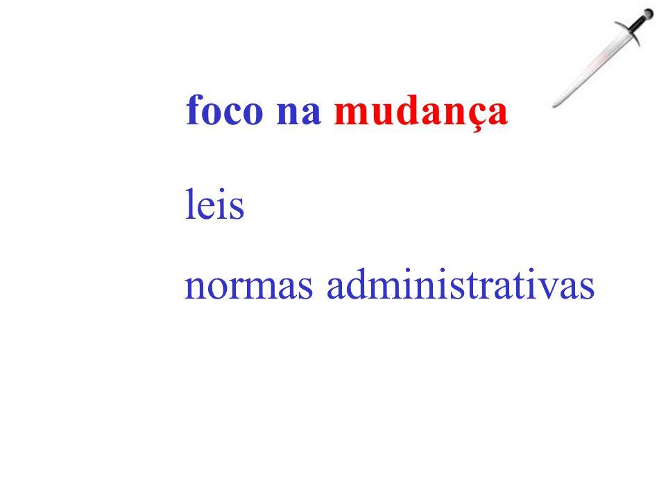 foco na mudança leis normas administrativas