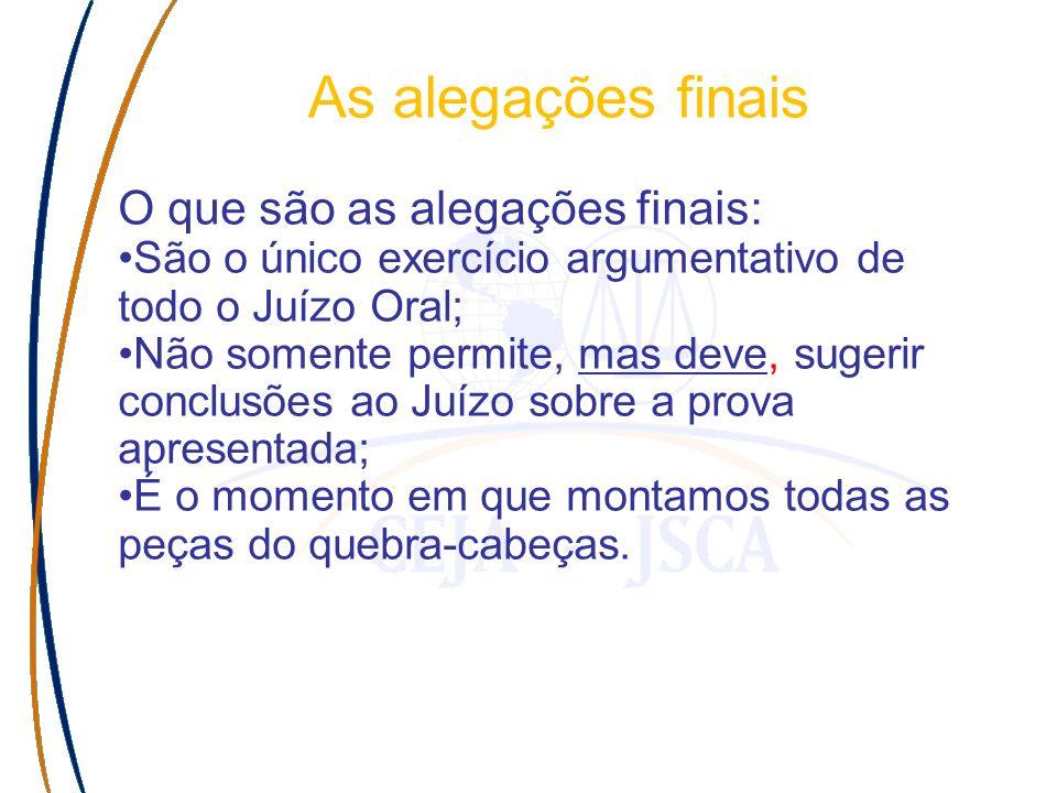 As alegações finais O que são as alegações finais: