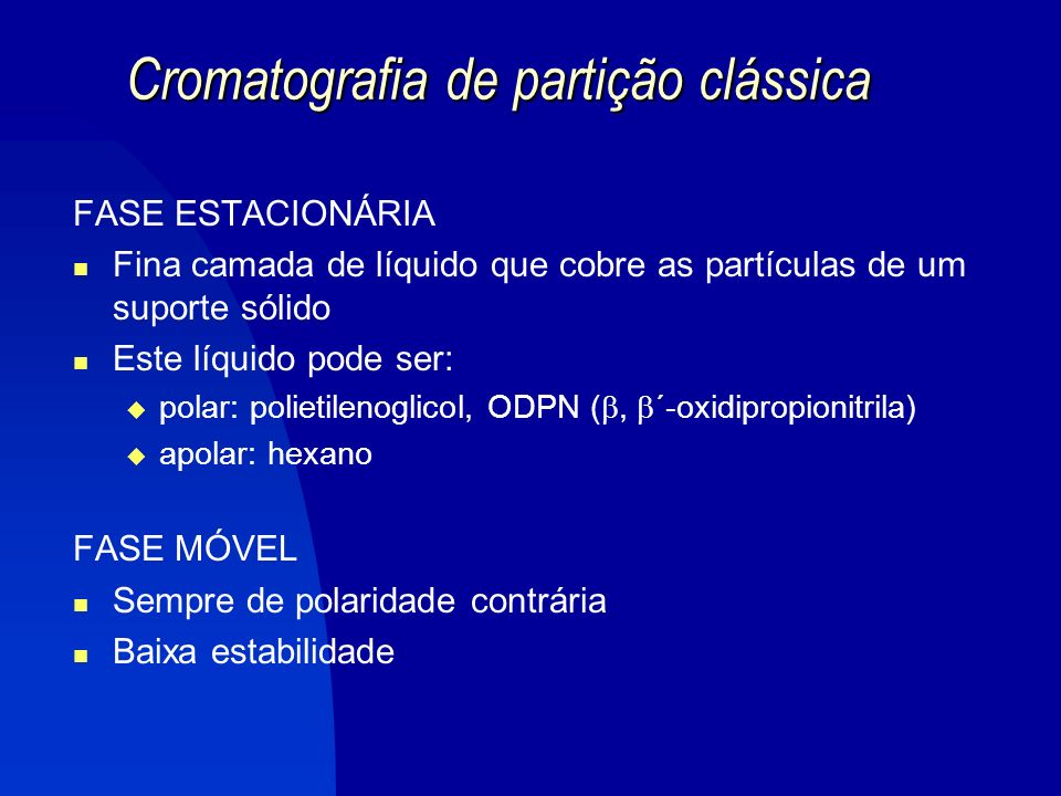 Cromatografia de partição clássica