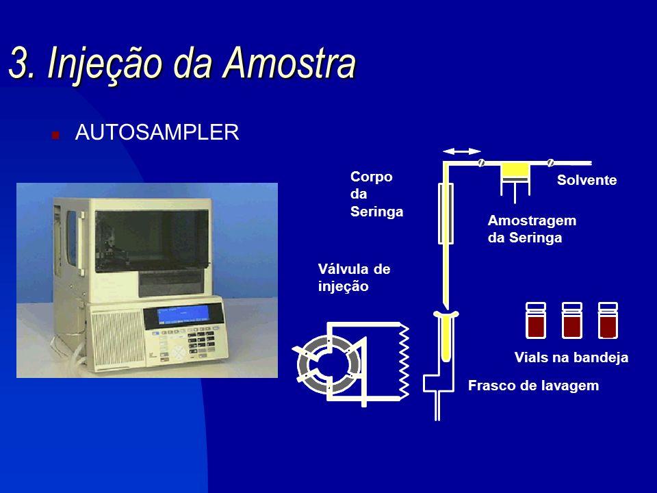 3. Injeção da Amostra AUTOSAMPLER Corpo Solvente da Seringa Amostragem