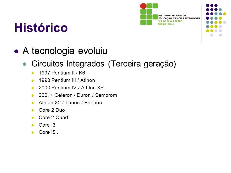 Histórico A tecnologia evoluiu Circuitos Integrados (Terceira geração)