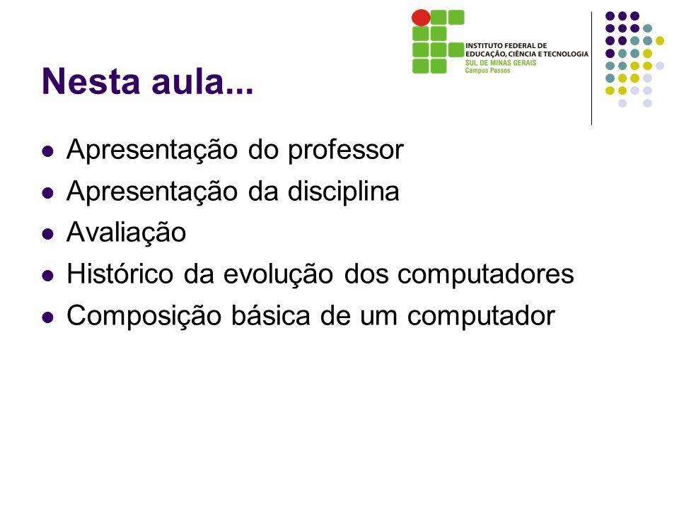 Nesta aula... Apresentação do professor Apresentação da disciplina